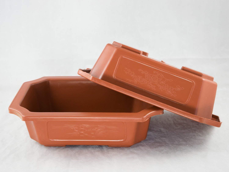 """2 Rectangular Dark Orange Plastic Bonsai Training Pots 9.25""""x 6.5""""x 2.75"""""""