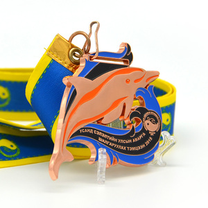 Longzhiyu 12years manufacturer Custom swimming sport medal in fish shape with custom ribbon
