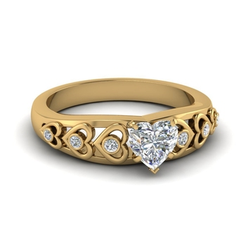 Heart Shaped Design Engagement Asian Rings In Custom Gold Plated