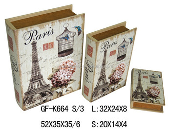 Customer Wooden Decorative Paris Deaign Book Shaped Gift Boxes