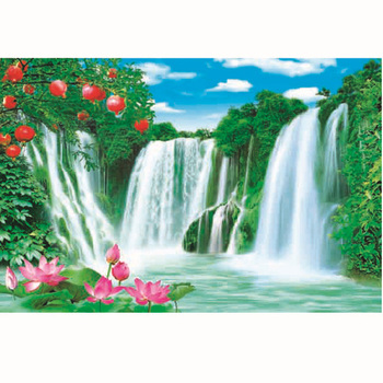 Beautiful Natural Falls Waterfall Landscape Simple Art Painting