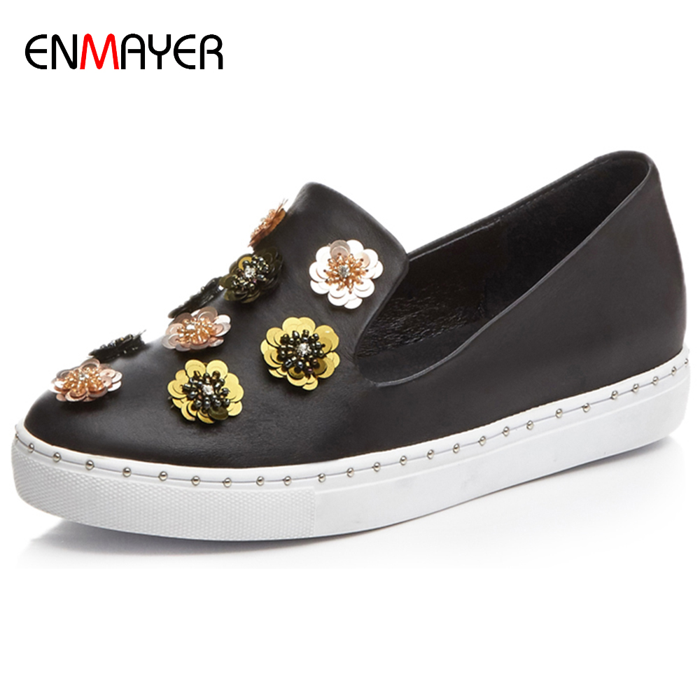 2016 autumn new designed flower decorated height increase within girl slip on <strong>flat</strong> shoes sneakers