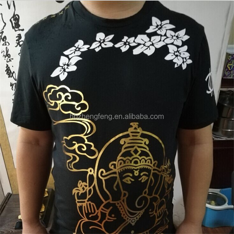 100% Cotton Men's Fit O-Neck Short Sleeve Gold Foil Printing T shirt