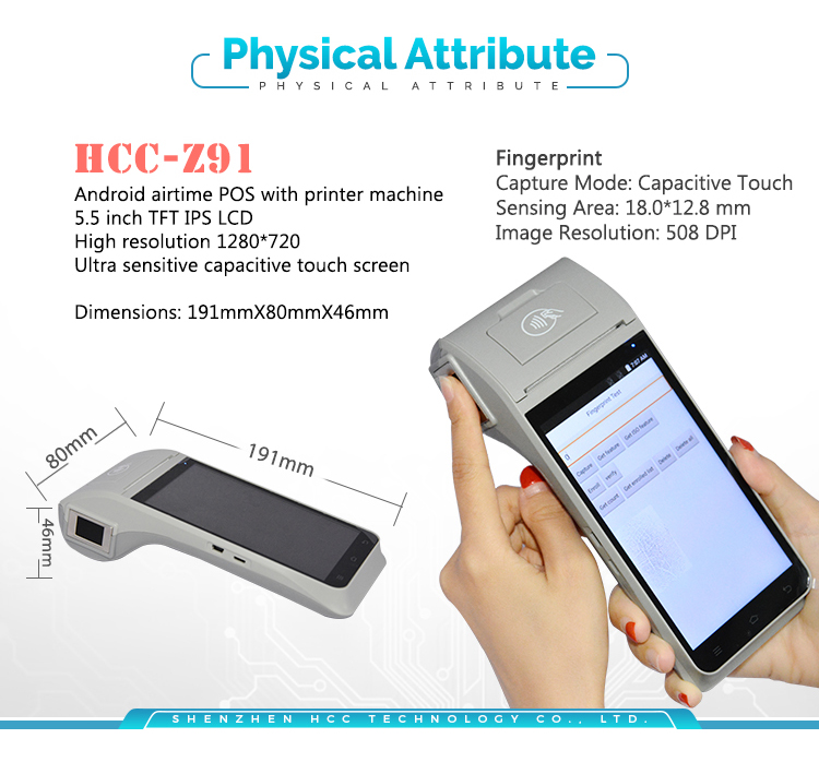 WIFI 4G NFC Android GPRS Touch Screen Handheld POS Terminal HCC-Z91