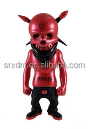 custom art design red Reberl Ink skull vinyl toys/make decor vinyl figure toys for show/oem made cool vinyl toys China factory