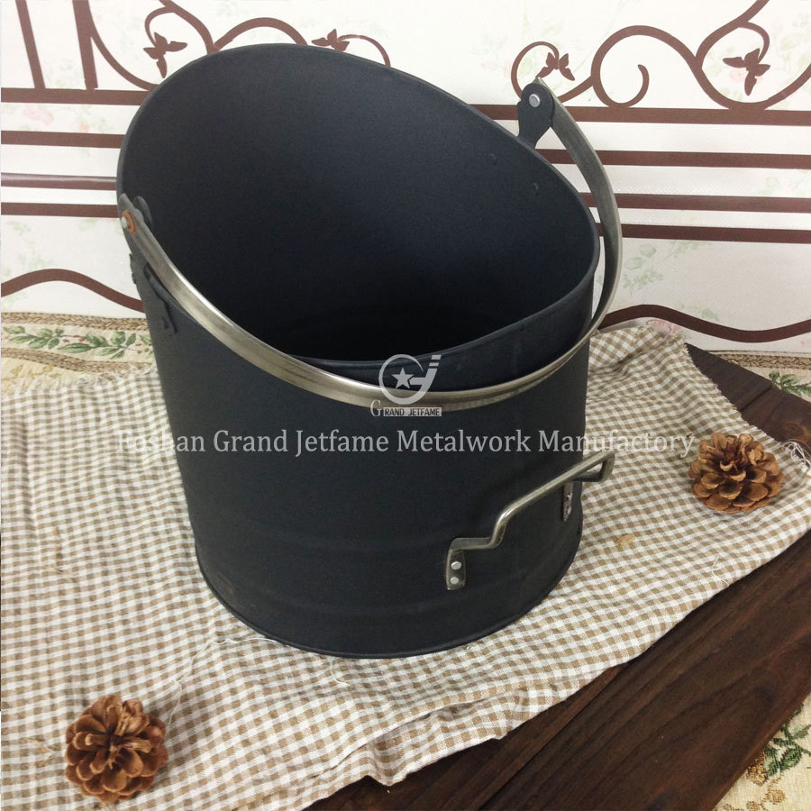 fireplace matt black metal coal bucket round coal ash bucket buy