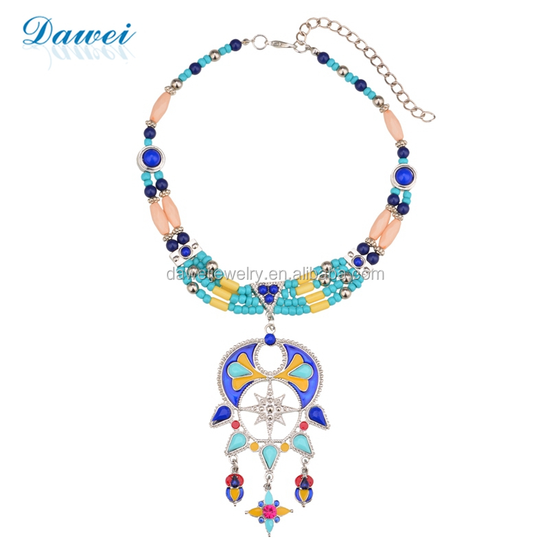 Natural Style Boho Handmade Beaded Jewelry Necklace Beautiful Indian Race Pendant Necklace