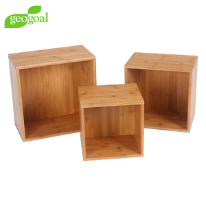 new design bamboo cubes shelving unit