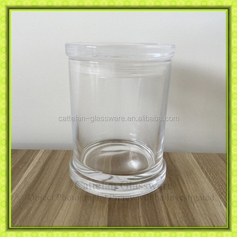 Clear glass storage jar with flat glass lid,cylinderglass container for coffee cookie honey