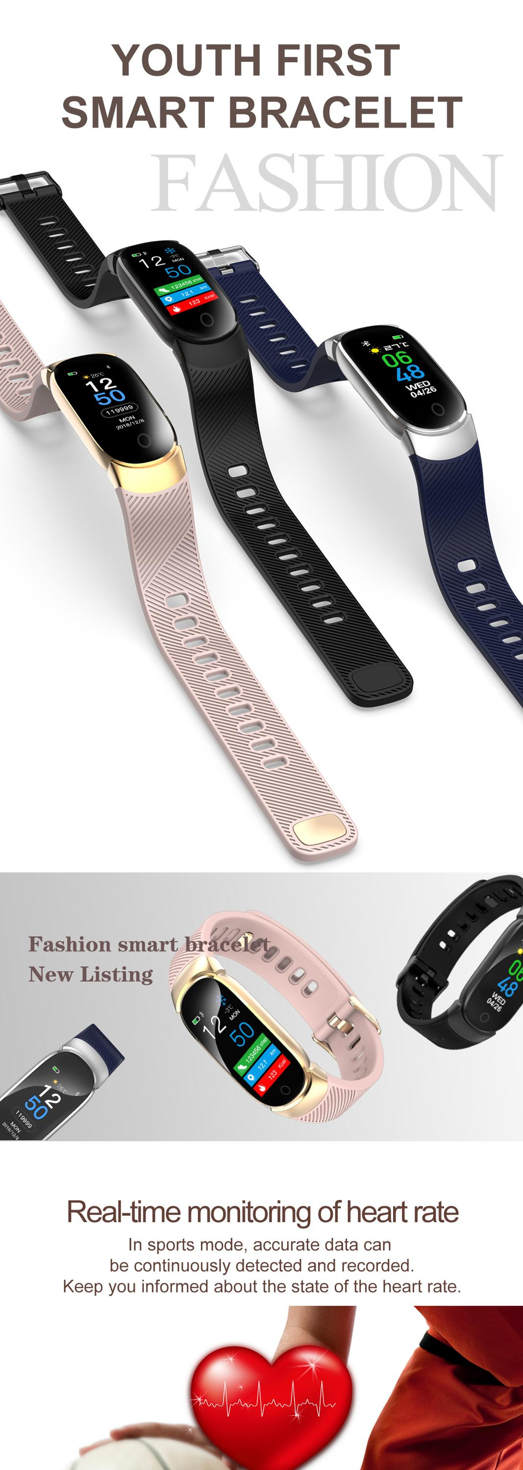 2019 OEM Fashion watch women Female Digital bluetooth watch smart bracelet in stock heart rate monitor Fitness band for Ladies