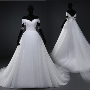 Real Photo White Flat Shoulders Wedding dress Off Shoulder Tulle Puffy Dress Princess Ball Gown