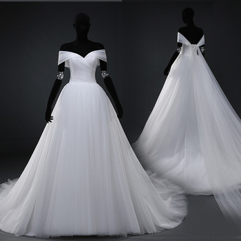 a012eb8dd910 Real Photo White Flat Shoulders Wedding dress Off Shoulder Tulle Puffy Dress  Princess Ball Gown