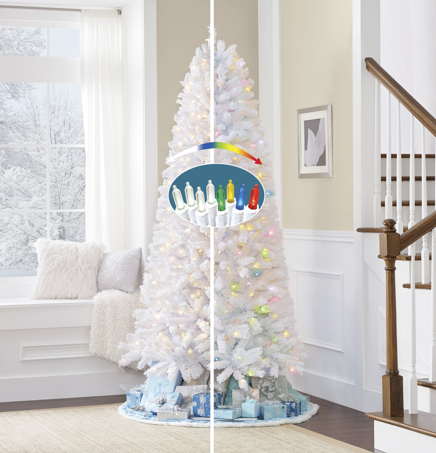 GE 7.5 Ft Flocked White Vermont Pine Christmas Tree 400 LED Lights