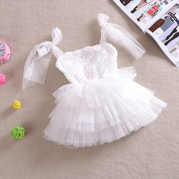 New Fashion Girls Floral Dress Tulle Tutu Dress Sleeveless Party Princess Dress Free Shipping