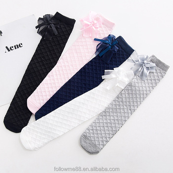 5318d86bf Cute Children s Knee High Socks for Toddlers Kids Baby Girls Solid Bow-knot  Cotton Princess