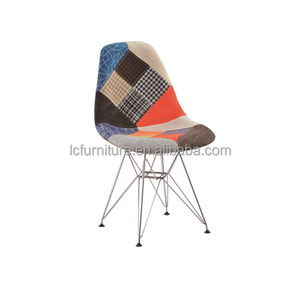 Leisure Fabric cover Plastic Cafe Chairs Dining Chairs with Metal Legs