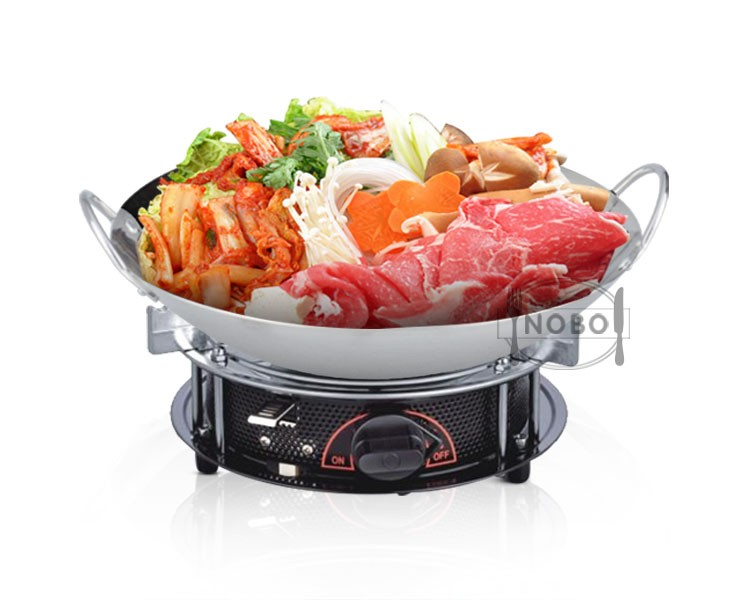 Korean stainless steel double sided frying wok pan shabu pan with steel lids