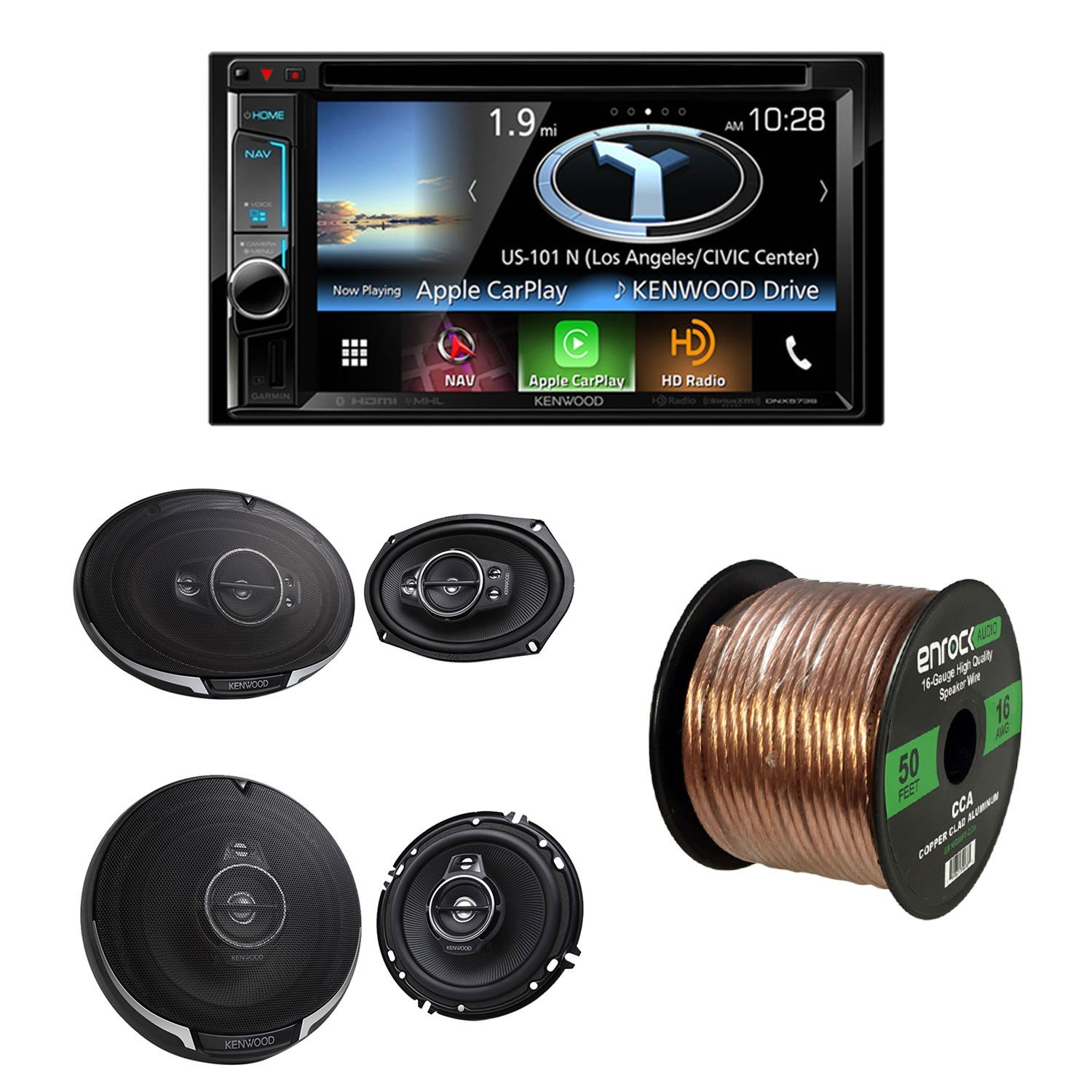 "Kenwood DNX573S 2-DIN Bluetooth Navigation System 6.2"" Touchscreen & DVD, Kenwood KFC- 6995PS 6.5"" 2-Way and KFC-1695PS 6.5"" 3-Way Car Speaker Black and 50' 16 Gauge Wire"