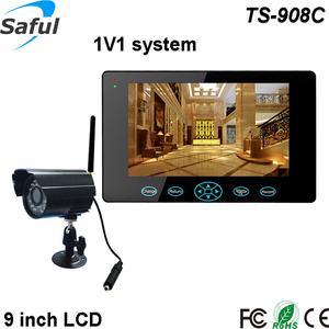 "Saful TS-908C 1V1 9"" HD TFT-LCD night vision IR digital ccd video camera wireless remote control micro DVR mini camera"