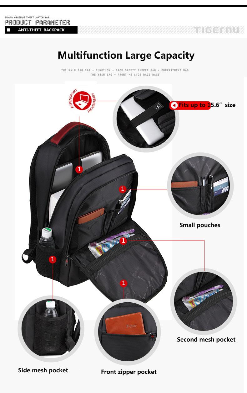 8e53907fd40 2018 Nieuwkomers Tigernu Business tas voor mannen Anti diefstal laptop  rugzak voor 15.6 inch tassen voor