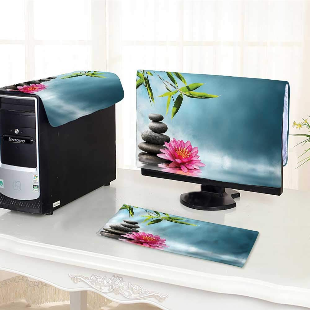 Jiahonghome Computer dustproof Three-Piece Theme with Lily Lotus Flower and Rocks Yoga Style Purifying for LED LCD Screens Flat Panel HD Display /23""