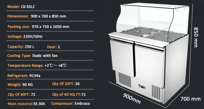 304 Stainless Steel Commercial Counter Top Salad Bar Salad