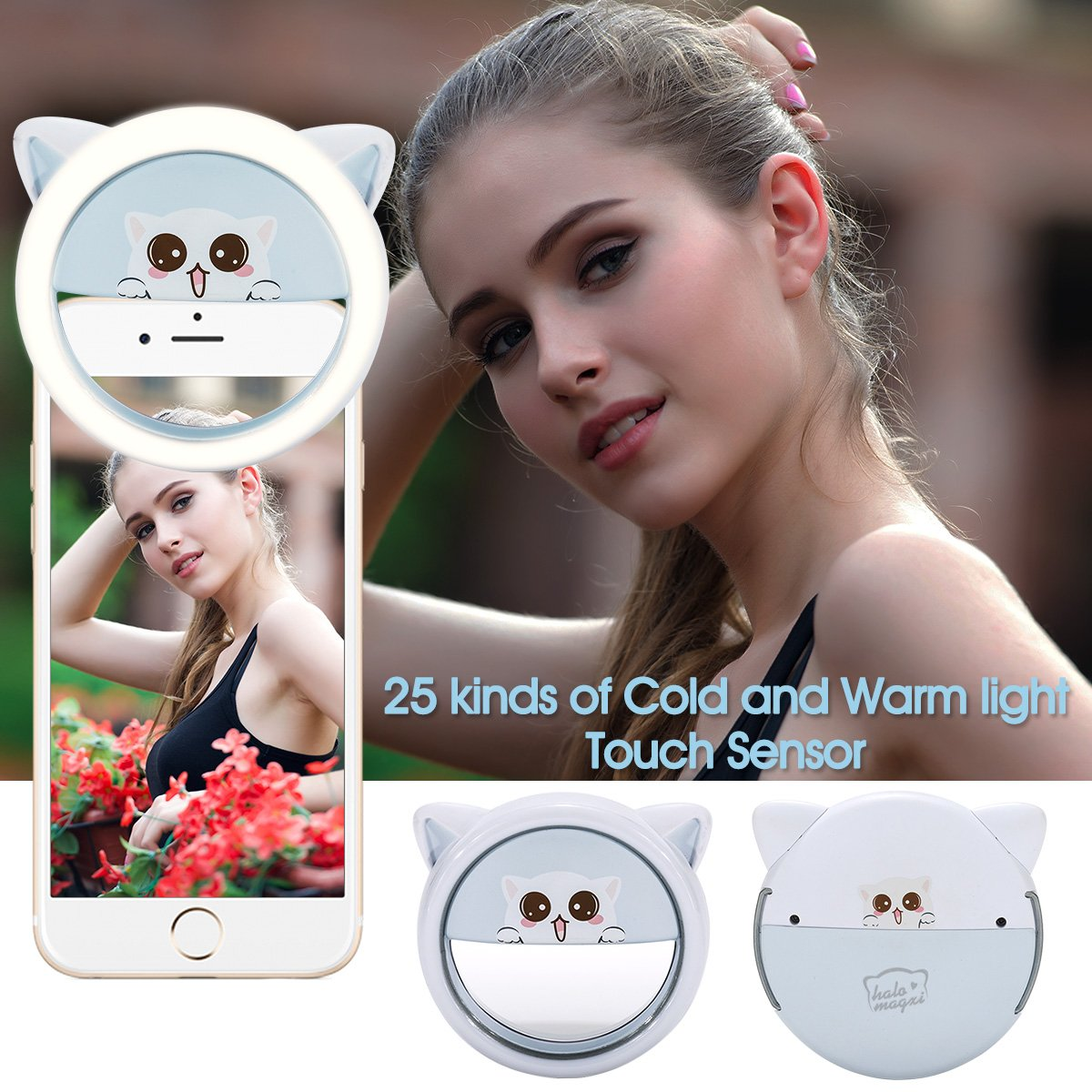 Selfie Light,Bienna Selfie Ring Light Flash Fill [44 LED] [USB Rechargeable] [5-Level Brightness & Color Temp] Camera Lighting With Power Bank and Stand for iPhone iPad Android Sumsung HTC Huawei-Blue