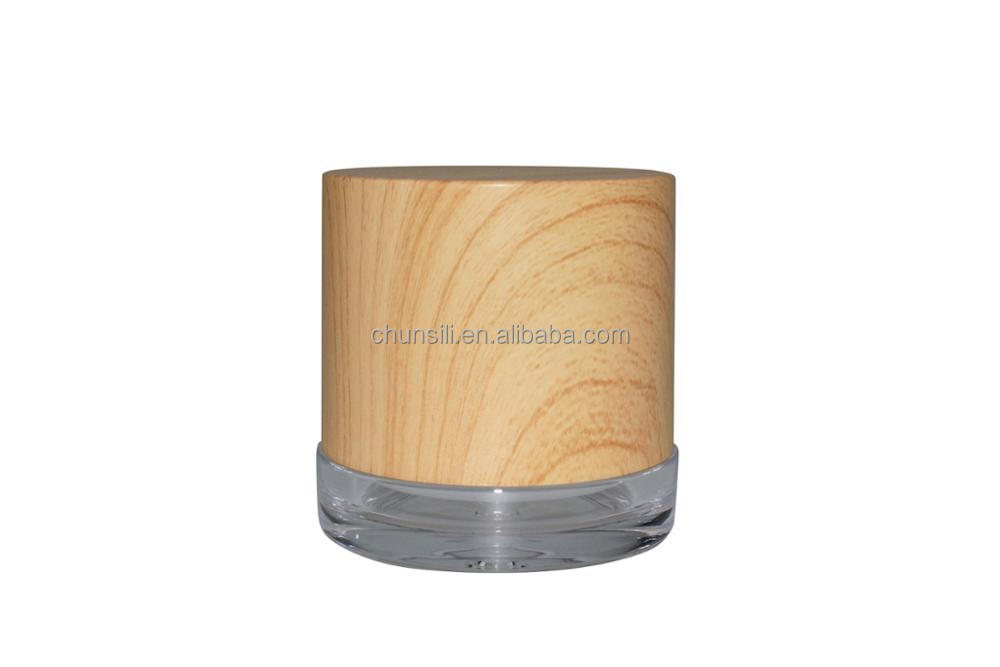 eco bamboo jar container round 50g plastic acrylic cream jar and wooden jar lids