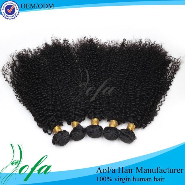 Raw kinky curly hair wefts with indian hair silk base closures