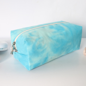 Customized wholesale small printed canvas men's shaving wash cosmetic tie dye toiletry bag for travel