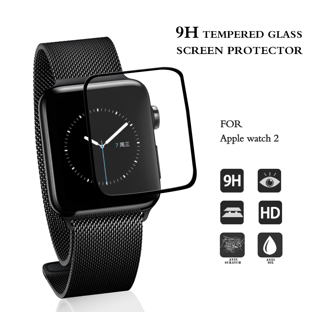 Smart Watch Accessories 3D Full Cover Tempered Glass Screen Protector For Apple Watch Series 2 Screen Film