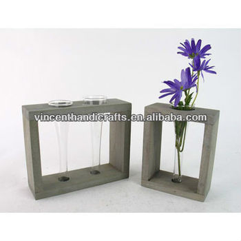 Party Table Decorative Wooden Stand With Mini Glass Tube Vases For