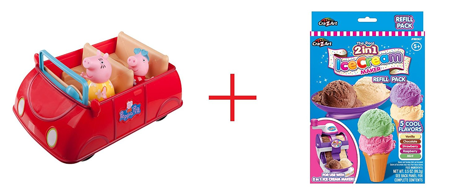 Peppa Pig's Red Car Playset with 2 Exclusive Figures and Cra-Z-Art Twirl & Swirl Ice Cream Maker - Refill Pack - Bundle