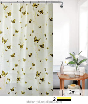 Printed Monarch Butterfly Shower Curtain Yellow Black