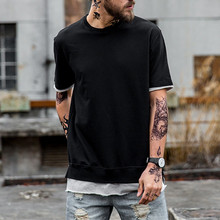 Hot Sale Fake Two Pieces Cotton Blank Black T-Shirt Custom New Model Men's T Shirt Wholesale China
