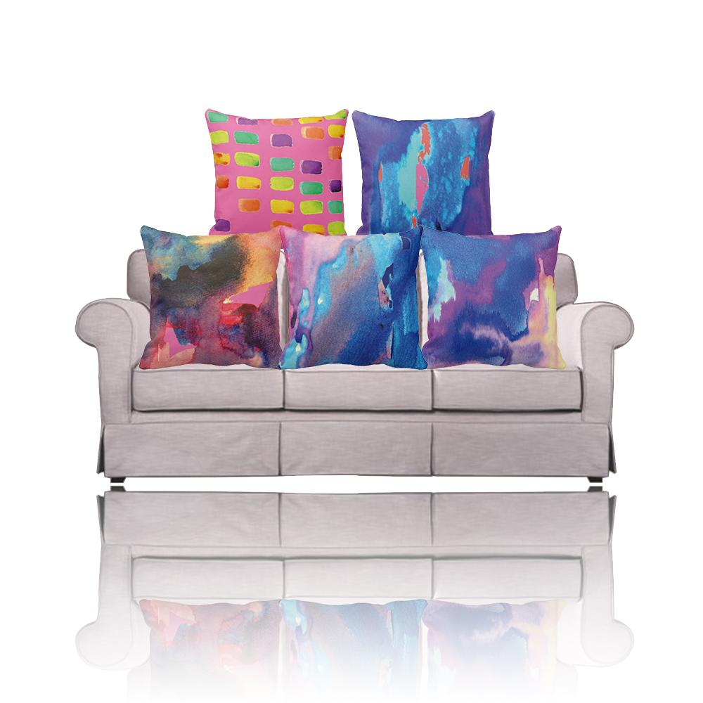 Terrific Buy Pink Blue Ikat Tie Dye Watercolor Pillow Cover Ibusinesslaw Wood Chair Design Ideas Ibusinesslaworg