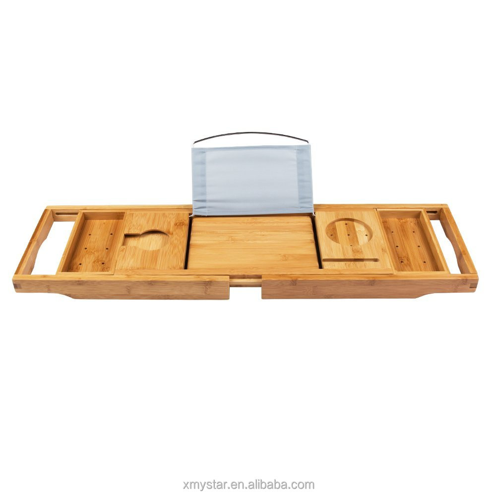Extendable Bamboo Bathtub Caddy With Ipad Holder And Towel Trays ...