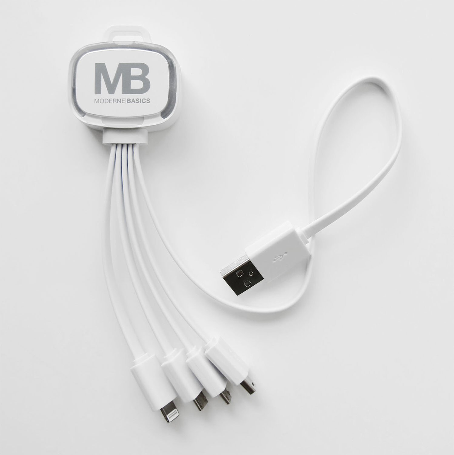 USB 2.0 4-in-1 Multiple Charging Cable w/ iPhone 6/5 8 Pin Flash LED Lightning (with Data), 2 Micro USB, 1 Mini USB Connector (Multi Color LED Lit) (White 1 Pack)