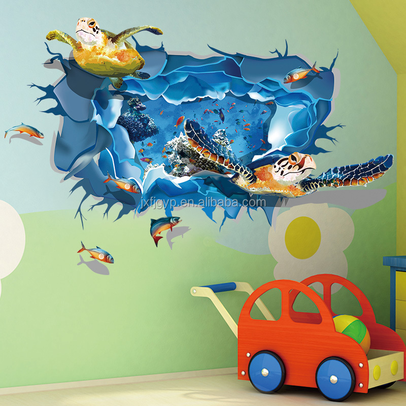 Custom creative PVC bedroom baby room 3d animal wall stickers