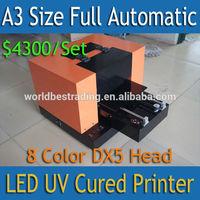 [King Print] 3D Image Printer Embossed Printer-A3 Size Full Automatic 8 Color DX5 Printer Head Mini UV Printer DTG U