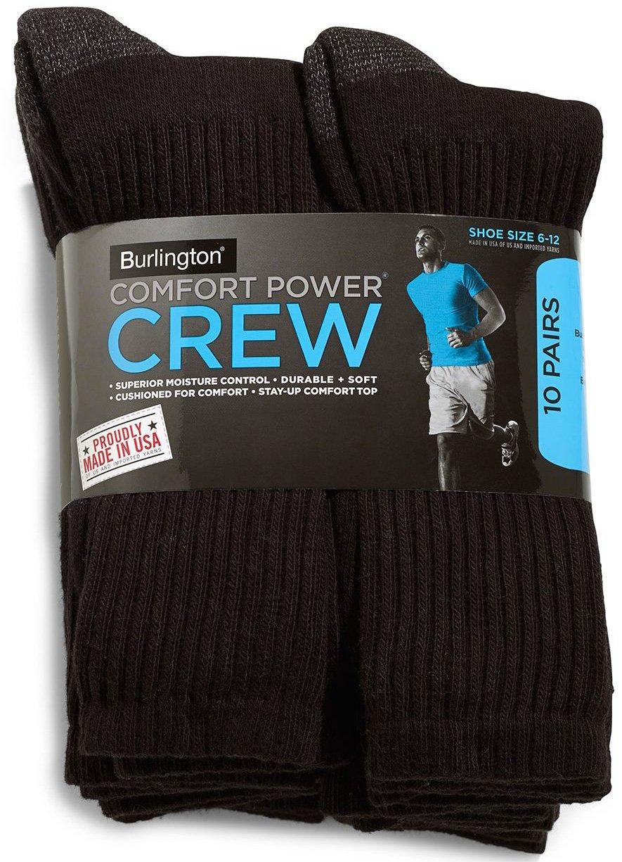 Burlington Comfort Power Mens 10 Pair Black Crew Socks (Size 6-12) - Made in USA