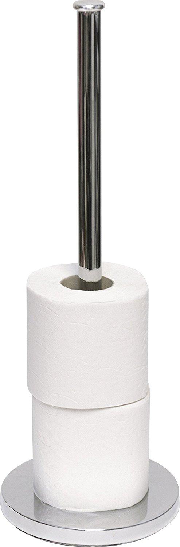 EVIDECO 671599 Freestanding Bathroom Metal Toilet Tissue Paper Roll Holder Reserve 4 Rolls