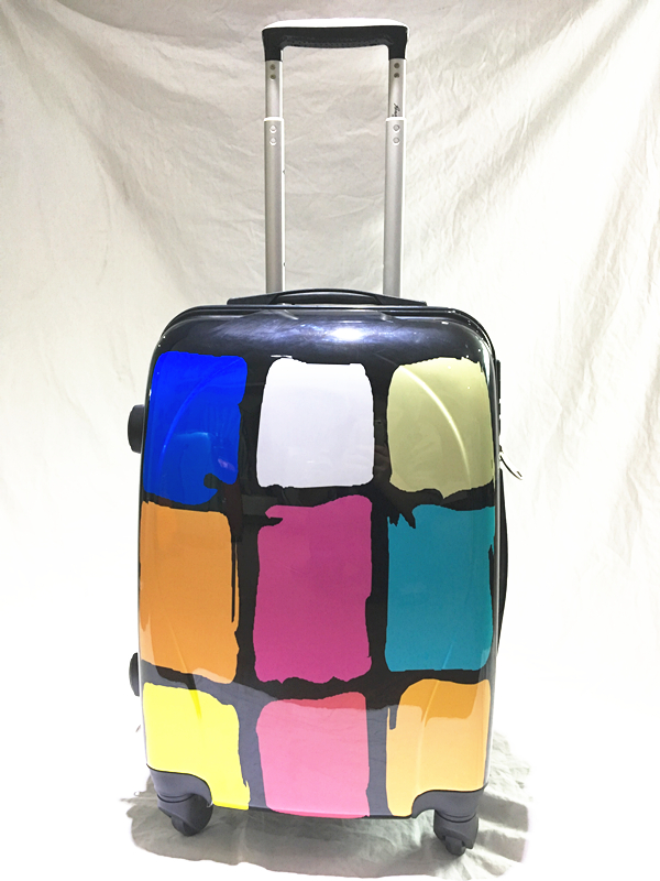 Printing ABS/PC Trolley luggage set, hard suitcase with colorful squares
