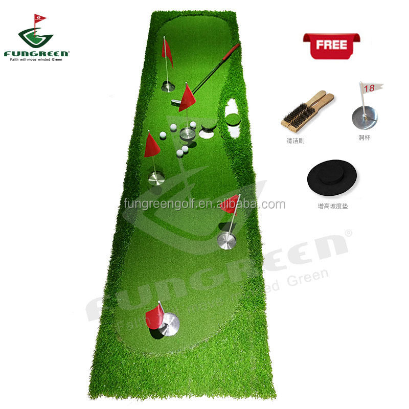 Fungreen 5 buracos de golfe putting green com novo design 0.75*3m Portátil putting mat