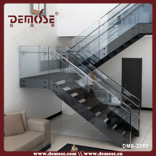 L Shape India Tempered Glass Granite Stairs Design With Anti Slip