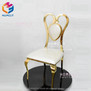 white leather gold elegant rental event stainless steel wedding hall furniture