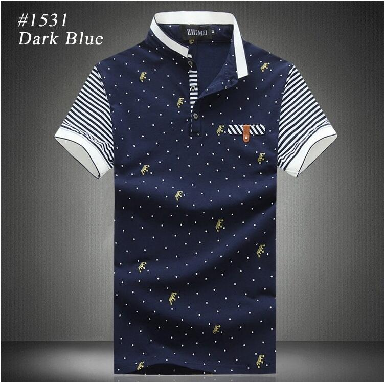 2016 Hot Fashion Brand Men Clothes 100% Cotton Short Sleeve Polka Dot Print Polo Shirt Men Slim Fit Polos Plus size Polo Shirts
