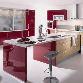High gloss red acrylic kitchen cabinets direct from China kitchen cabinet manufacturer & High gloss red acrylic kitchen cabinets direct from China kitchen ...