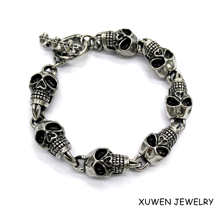 Halloween skull charms metal stainless steel survival bracelet