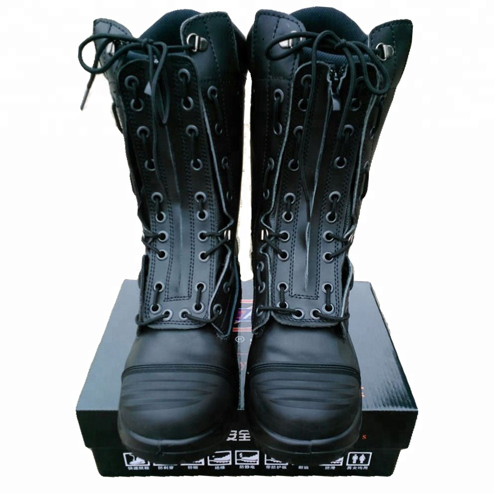 firefighter patent anti military boots on leather impact black slip rescue boots pfZwxqqz